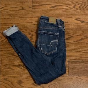 American Eagle High Rise Distressed Skinny Jean